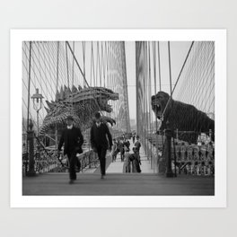 Old Time Godzilla vs. King Kong Art Print