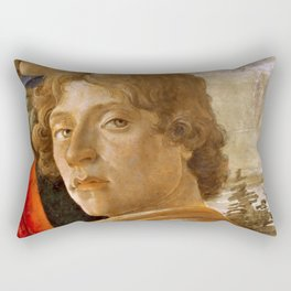 Sandro Botticelli Probable self-portrait of Botticelli, in his Adoration of the Magi (1475) Rectangular Pillow