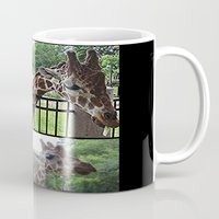 giraffes Mugs featuring Giraffes  by grapeloverarts