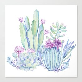 Mixed Cacti White #society6 #buyart Canvas Print