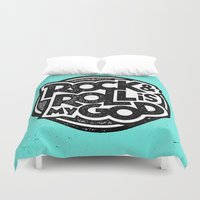 rock and roll Duvet Covers featuring Rock & Roll God by Josh LaFayette