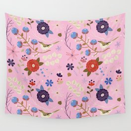 BIRD AND FLOWERS Wall Tapestry