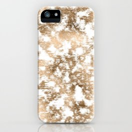 scrubbed bronze white marble iPhone Case