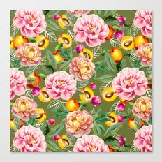 Pattern of apricot and flowers Canvas Print