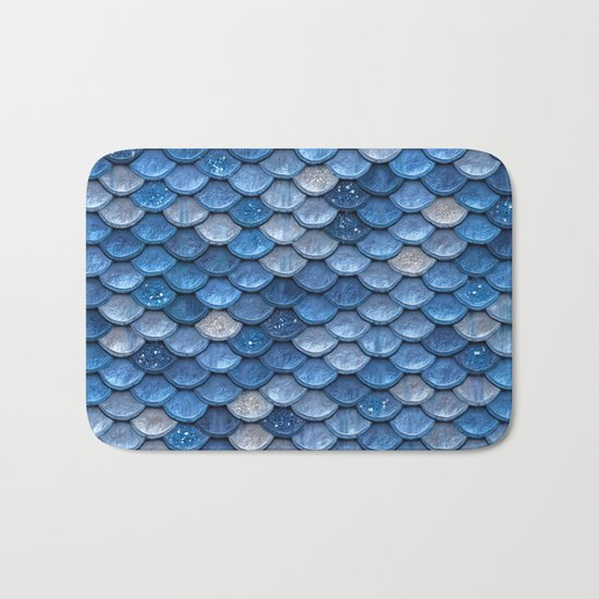 Blue sparkling glitter mermaid scales - Mermaidscales Bath Mat