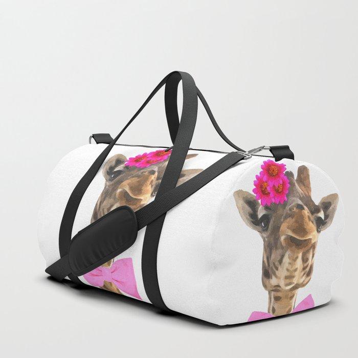 Giraffe funny animal illustration Duffle Bag