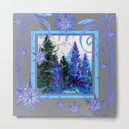 ORNATE BLUE-GREY WINTER SNOWFLAKES FOREST ART Metal Print
