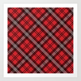 Scottish Plaid-Red Art Print