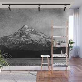 Mt Hood Black and White Vintage Nature Photography Wall Mural