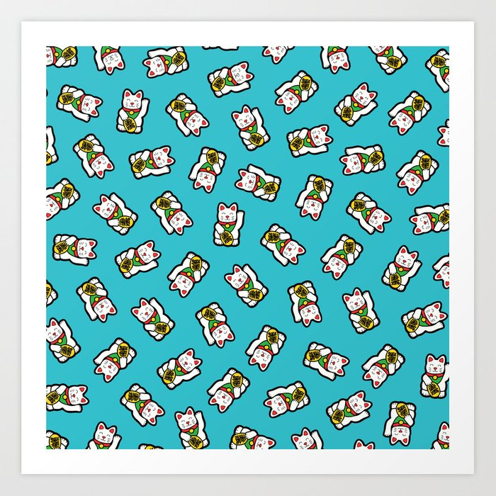 Lucky Cat Pattern Art Print