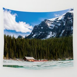 Canoeing in the Mountains Wall Tapestry