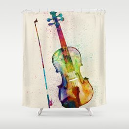Violin Abstract Watercolor Shower Curtain