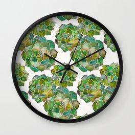Rosette Succulents – Green Palette Wall Clock