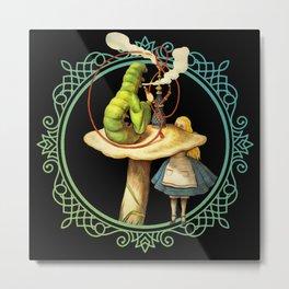Alice and the Smoking Caterpillar - Alice in Wonderland Metal Print