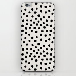 Preppy brushstroke free polka dots black and white spots dots dalmation animal spots design minimal iPhone Skin