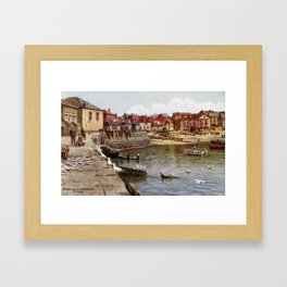 Aquarelle St Ives Cornwall Seagulls in the harbour Framed Art Print