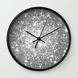 Silver Gray Galaxy Sparkle Stars Wall Clock