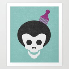 Skull with Fro. Art Print