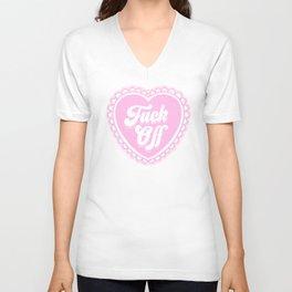 F*ck Off Pink Heart Unisex V-Neck