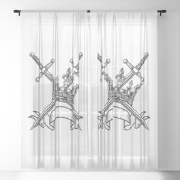 Vintage Print Royal Crown with Swords and Ribbon Monochrome Style. Black and White Sheer Curtain