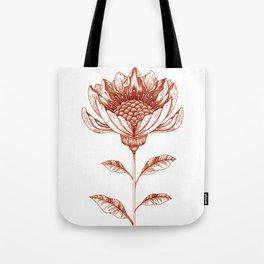 Lampshade Flower Drawing in Rust Tote Bag