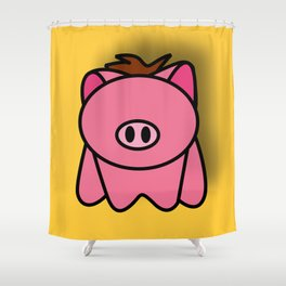PIG on YELLOW Shower Curtain