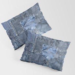 Blue Jeans Pocket Patchwork Pattern Pillow Sham