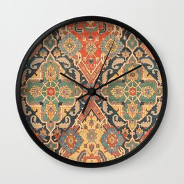 Geometric Leaves VIII // 18th Century Distressed Red Blue Green Colorful Ornate Accent Rug Pattern Wall Clock