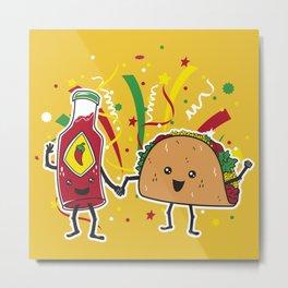 Tacos LOVE Hot Sauce Metal Print