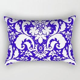 Paisley Damask Blue and White Rectangular Pillow
