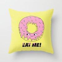 donut Throw Pillows featuring Donut by Eduardo Doreni