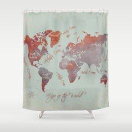 world map 142 red grey #worldmap #map Shower Curtain