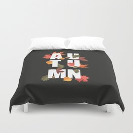 Autumn word and leaves WHITE Duvet Cover