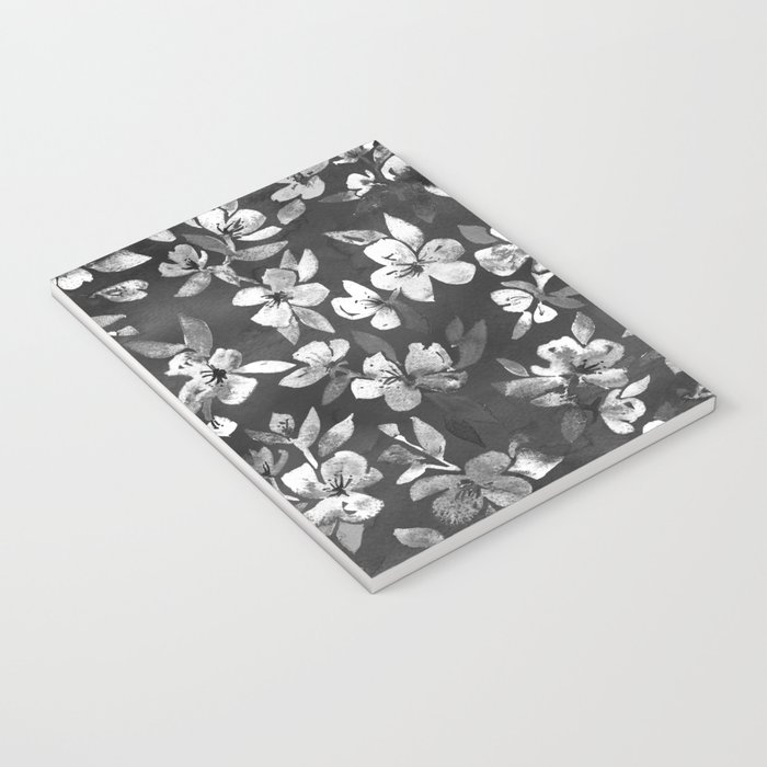 Blossoms on Charcoal Ink Notebook