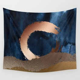 Navy Blue, Gold And Copper Abstract Art Wall Tapestry