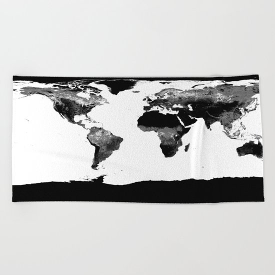 World Map  Black & White Beach Towel