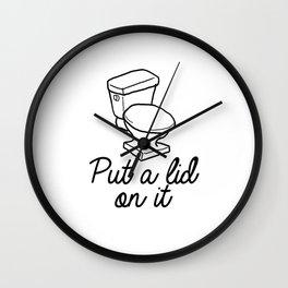 Put A Lid On It Burlap Print   Bathroom Wall Clock