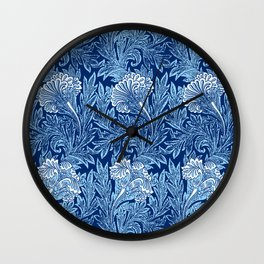 Jacobean Flower Damask, Cobalt and Light Blue Wall Clock