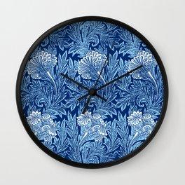 Jacobean Flower Damask, Cobalt and Light Blue Wall Clock