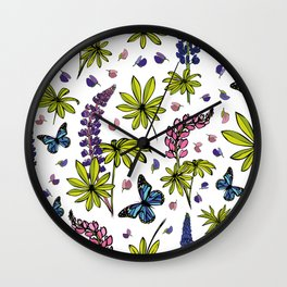 Blooming lupines Wall Clock
