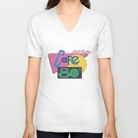 80s V-neck T-shirts featuring Cafe 80s by Loku