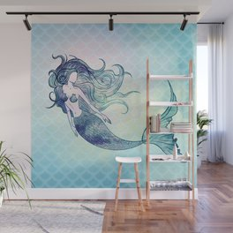 Watercolor Mermaid Wall Mural