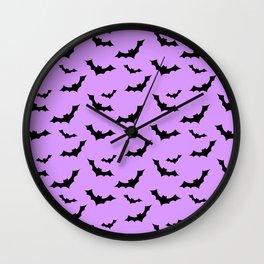 Black Bat Pattern on Purple Wall Clock