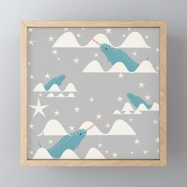 narwhal in ocean grey Framed Mini Art Print