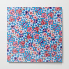 Blue Cascading Floral Chirimen Metal Print