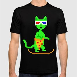 """""""Psychedelic Skateboarding Pixel Pizza Cat"""", by Brock Springstead T-shirt"""
