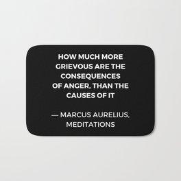 Stoic Wisdom Quotes - Marcus Aurelius Meditations -  on anger Bath Mat