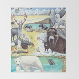 Arctic Tundra Animals Throw Blanket