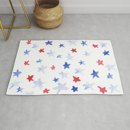 Red and Blue stars 4th of July watercolor design Rug