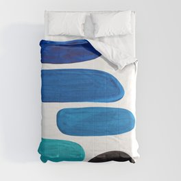 Colorful Mid Century Modern Pop Art Minimalist Style Teal Blue Aquamarine Bubbles White Background Comforters